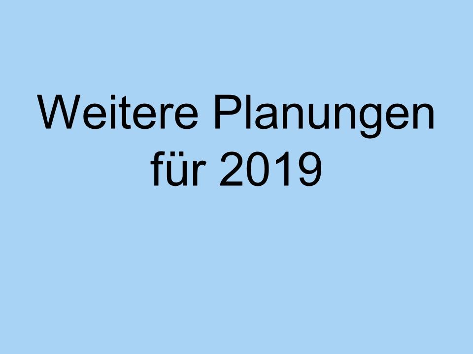 Weitere Planungen für das Jahr 2019